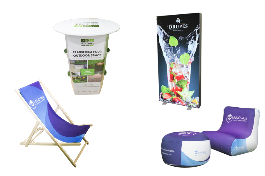 Printed Deck Chair, Inflatable seating, Rockport Counter and LED Light Box