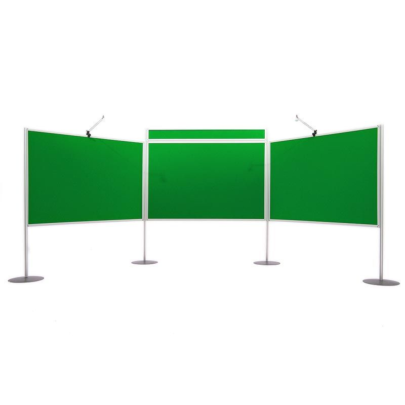 Universal big kit 3 with 3 large display panels, 4 x poles and bases. Additional header panels and lights are available to purchase
