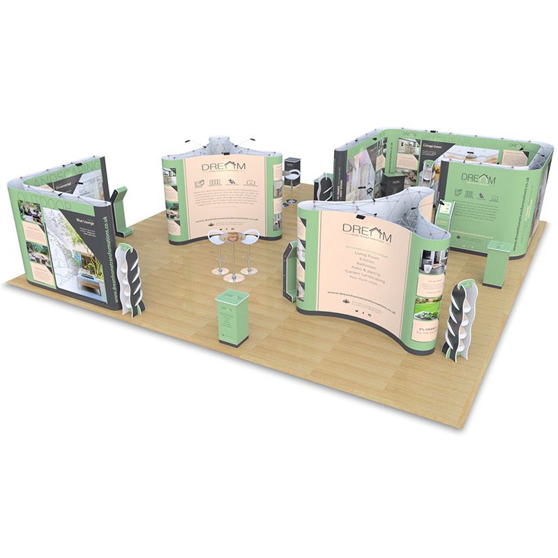 10m x 10m exhibition stand includes Pop Up room, Kingston counters, Hexby leaflet dispensers, 3x2 pop up islands, 3x3 L Shape double sided, Pop Up upgrades, Saxon Plinths, Rockport counters, Promo towers, Fusion iPad stands with tables & chairs