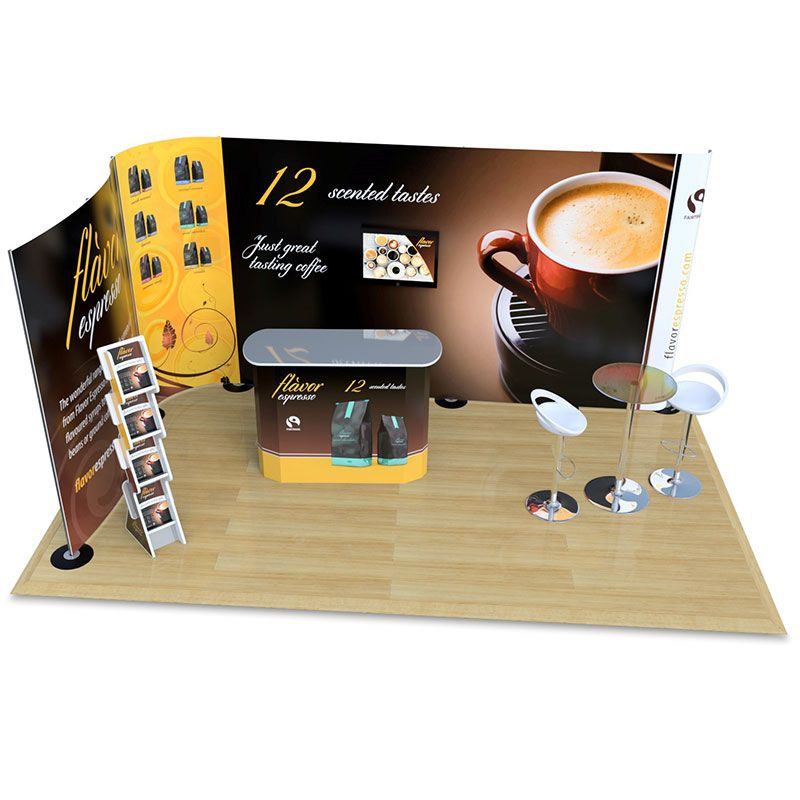 3m x 5m streamline pop up exhibition stand, with leaflet dispenser, counter and table with chairs