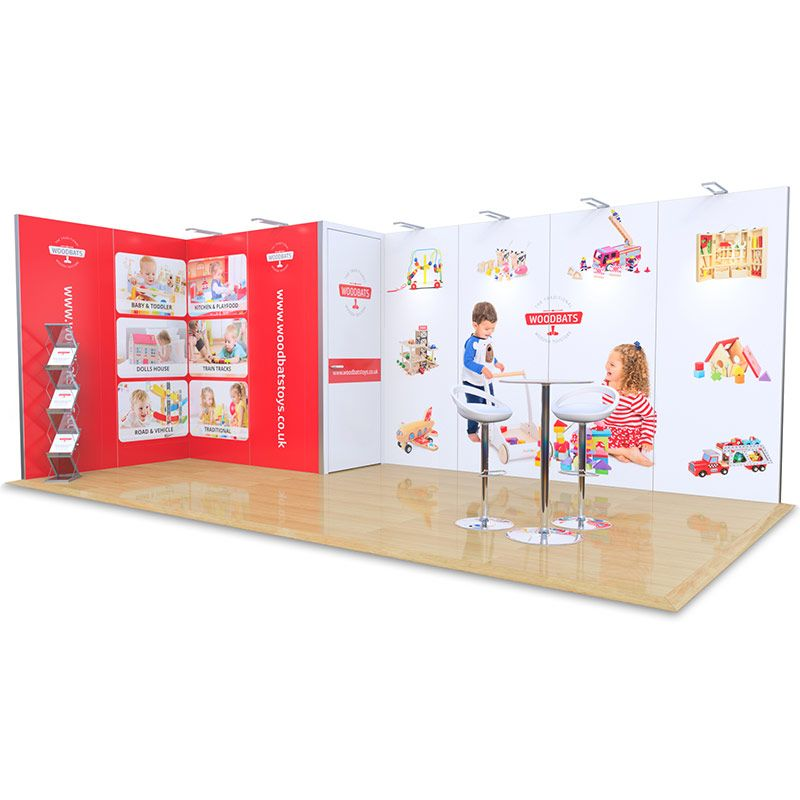 3m x 6m exhibition stand for hire, includes aluminium framework, custom printed foamex panels, storage cupboard and LED lights.