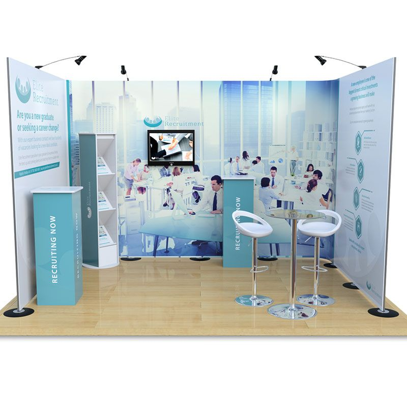 3m x 4m Streamline pop up exhibition stand, complete with leaflet dispenser and plinths