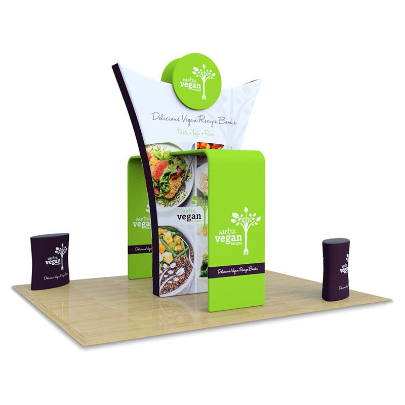 3m x 5m Tex-Flex Stand, supplied with a stretch fabric centre piece and 2 fabric counters.