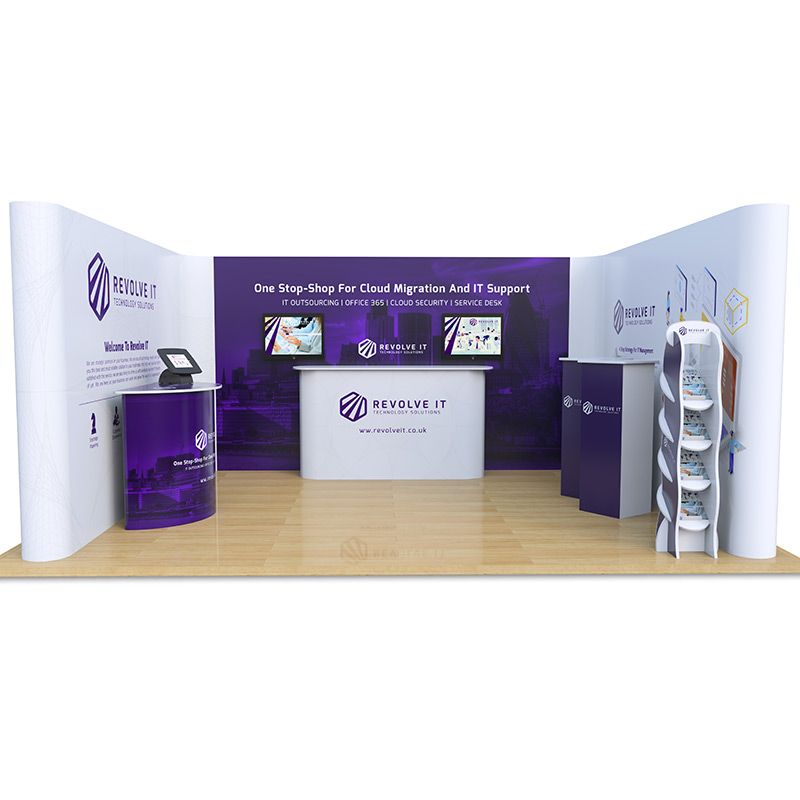 4m x 5m Exhibition Stand includes U Shaped Pop Up backdrop, Celtic Counter, Jasper Counter, Moonbase tablet stand, Saxon Plinths and Hexby literature stand