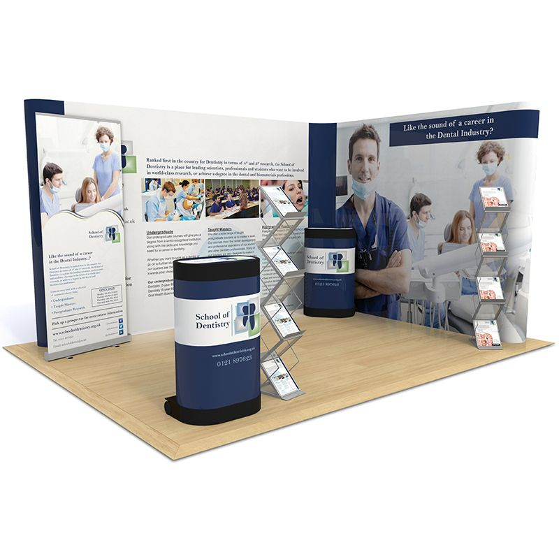 3m x 4m Exhibition Stand includes L Shape Pop Up backdrop, Sterling roller banner, counter upgrade kits and leaflet dispensers