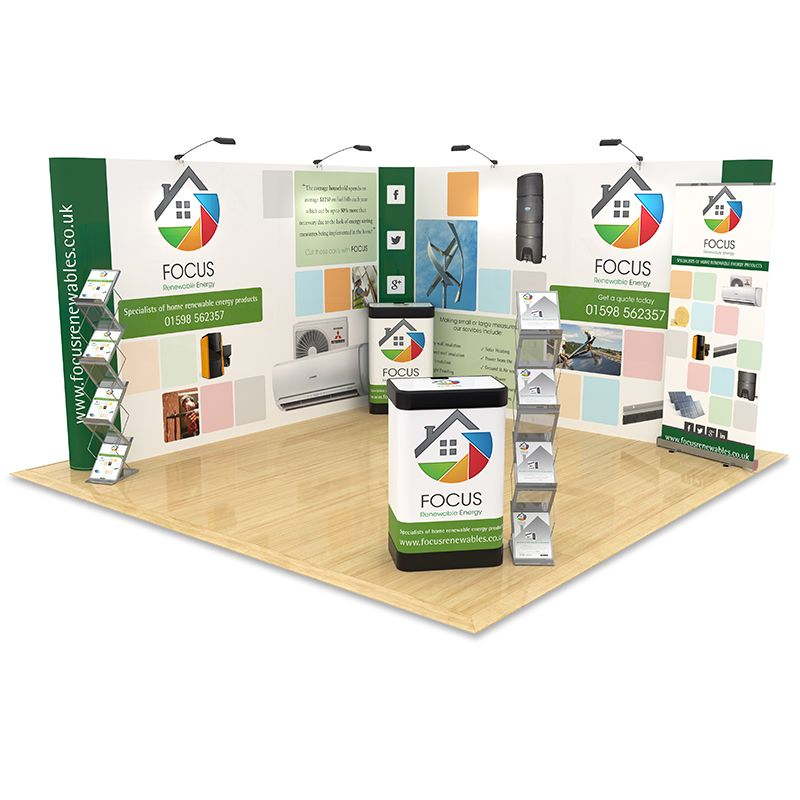 4m x 4m Exhibition Stand Design includes an L Shape backdrop display, roller banner, counter upgrades and literature stands