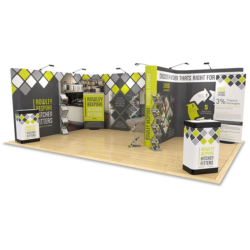 4m x 6m F Shaped Pop Up Exhibition Stand creates an impressive display with counter upgrades, Switch banner stands and leaflet dispensers
