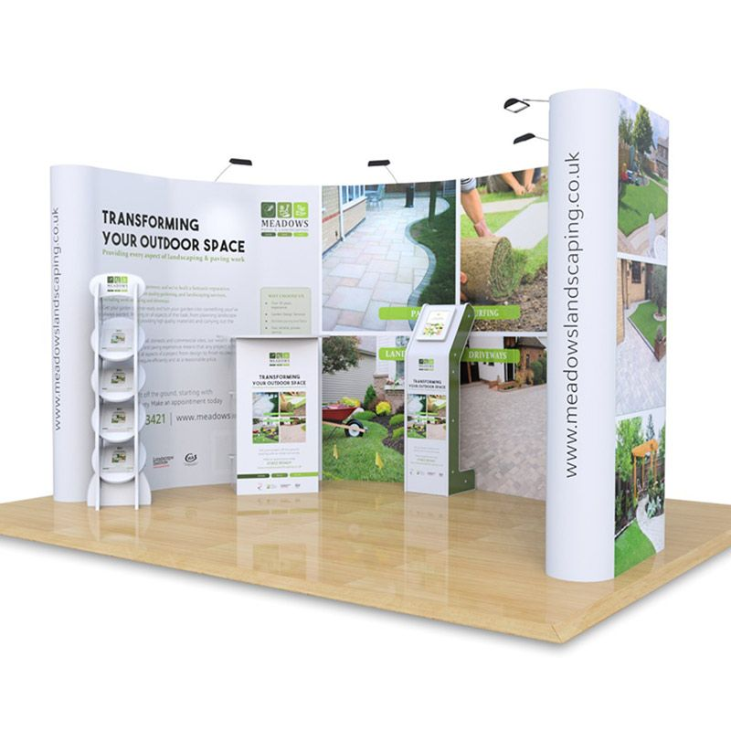 3m x 4m C Booth exhibition stand, includes 3x4 pop ups, Hexby literature stand, Rockport exhibition counter and Fusion ipad Stand.