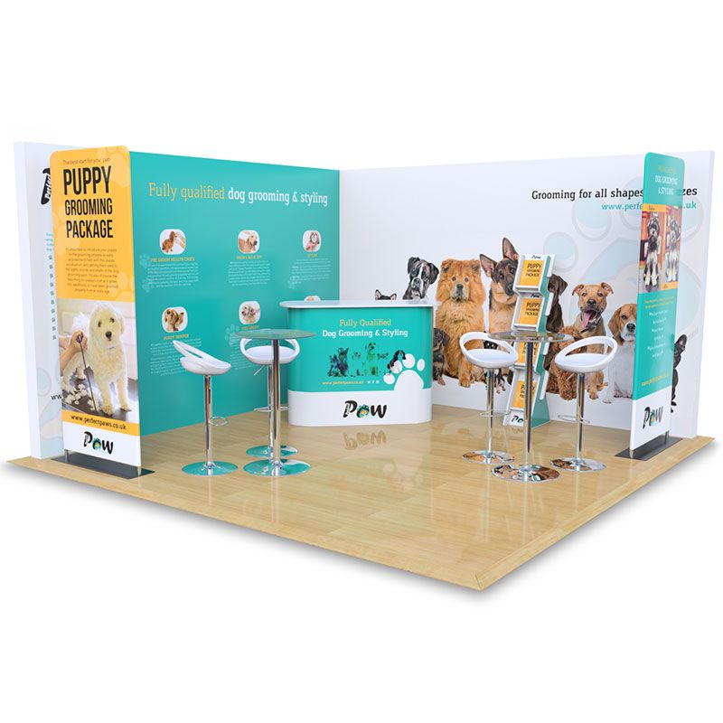 4m x 4m Modular exhibition stand includes custom printed backdrop panels, fabric banners, Celtic counter, Cascade leaflet dispenser, table and chairs