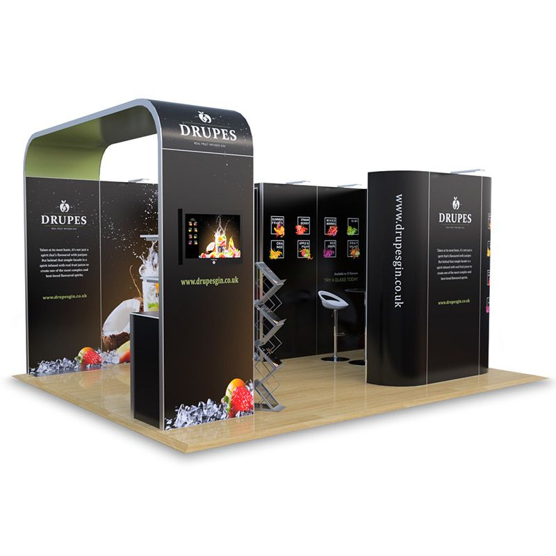 4m x 5m exhibition stand for hire with roof, storage cupboard and storage counter.