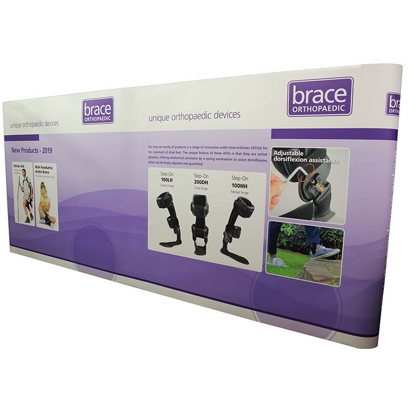 5m backdrop exhibition stand, made using Premier pop up displays