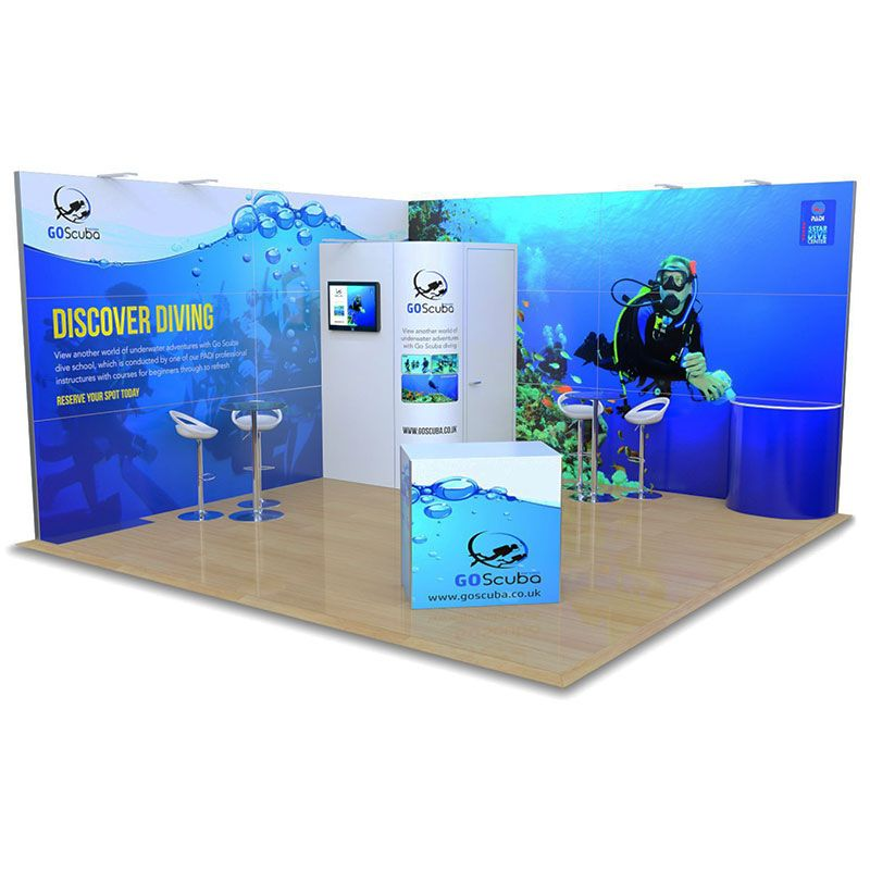 5m x 5m L Shape Modular exhibition stand available for hire