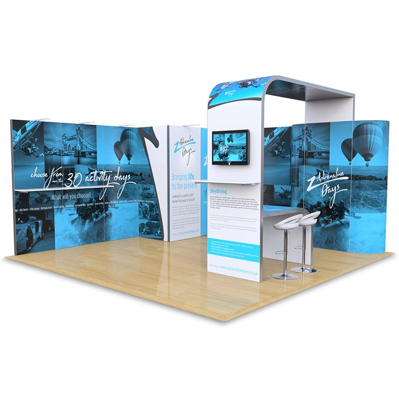 5m x 5m modular hire exhibition stand, supplied with printed rollable or foamex panels.