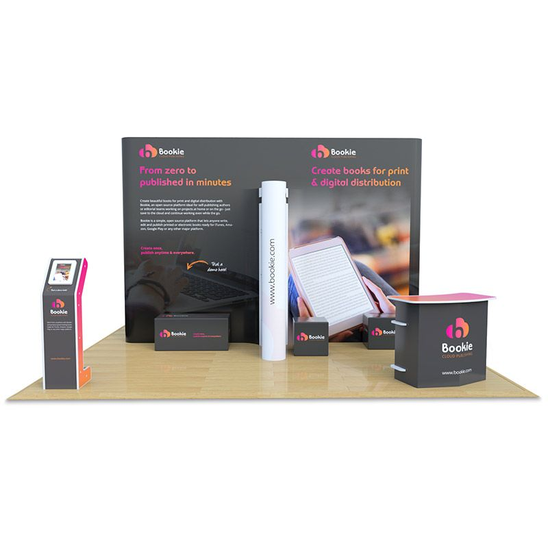 5m x 5m Jumbo Exhibition Stand, includes Aztec counter, x2 Fusion iPad stands and printed foam cubes.