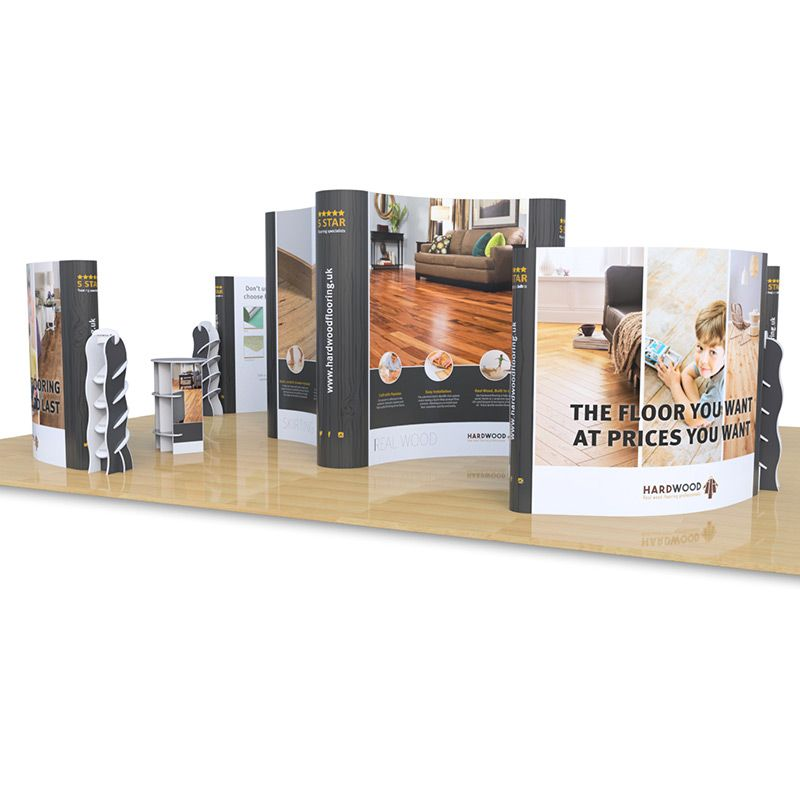 8m x 10m Quad exhibition kit include Jumbo 3x3 Quad pop up, 4 x double sided 3x3 Midi pop ups, Hexby leaflet dispensers and Rockport counters