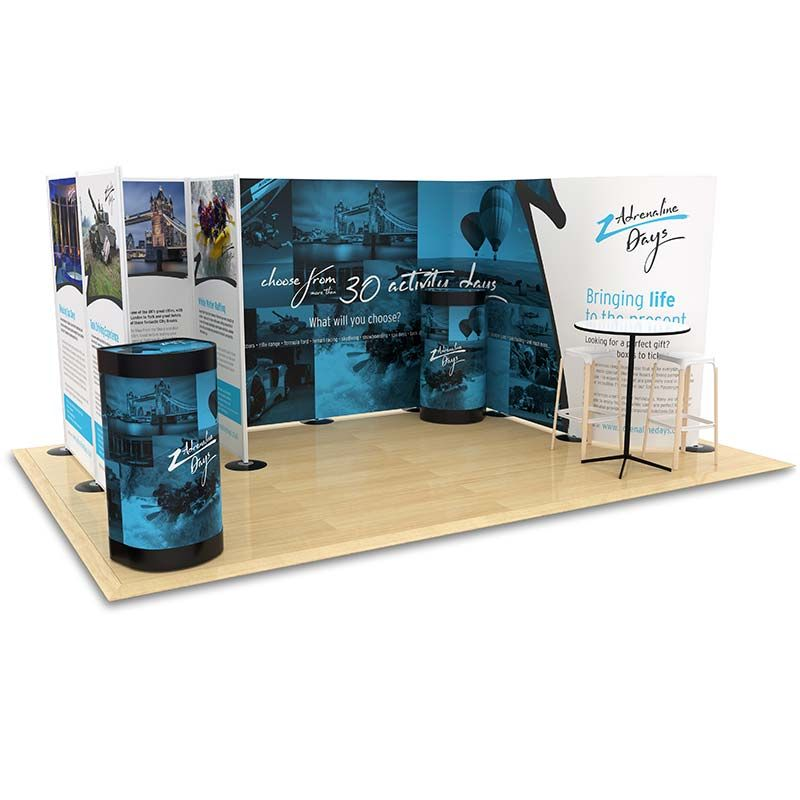 3m x 4.5m exhibition stand using both flexible printed displays and modular printed panels to create an exclusive, one of a kind display