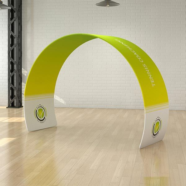 Custom printed curved arch display, using a seamless stretch fabric graphic panel.
