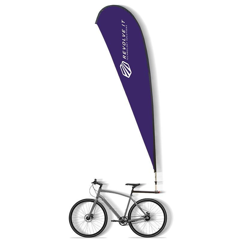 A 2m high bike banner, attaches  to a bike, available in a choice of styles.