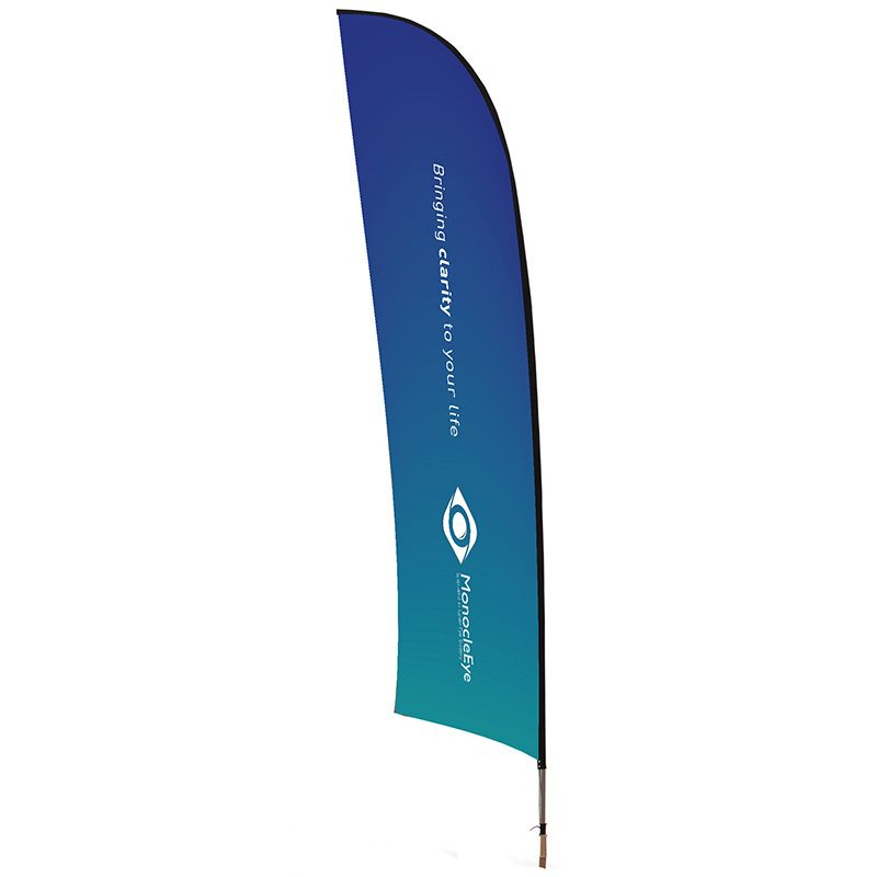 Standard Blade Flag, suitable for indoor and outdoor use. Custom printed flag.