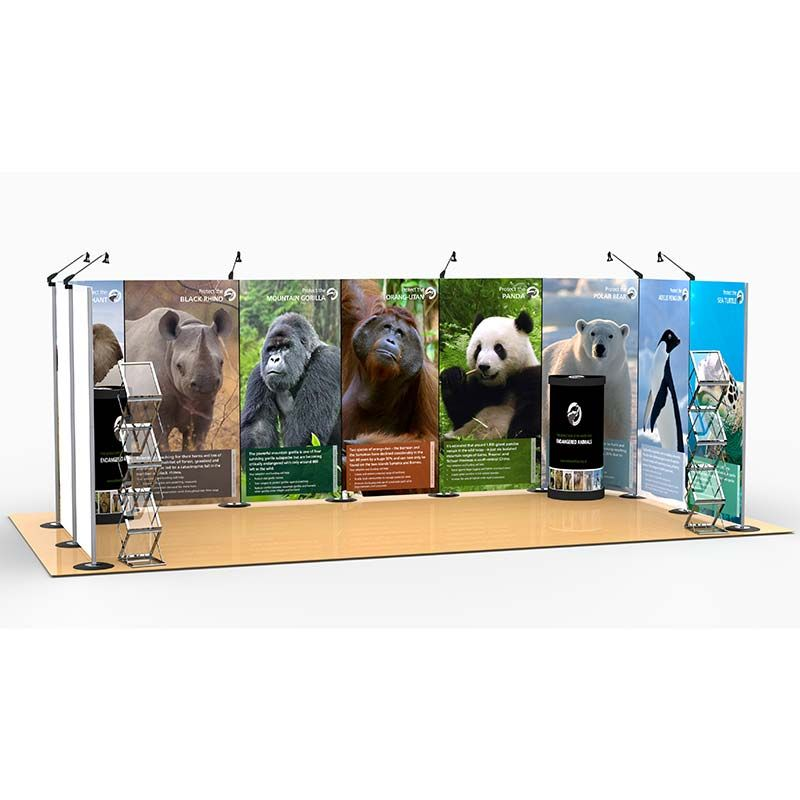 3m x 6m Exhibition Stand includes 10m Streamline backdrop display, counter upgrade kits and leaflet dispensers