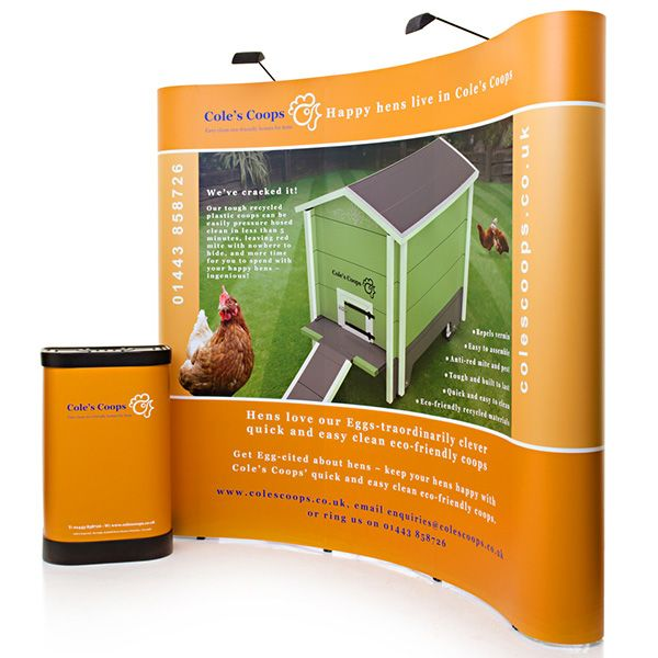 3x3 curved pop up exhibition stand with graphic wrap for the wheeled case