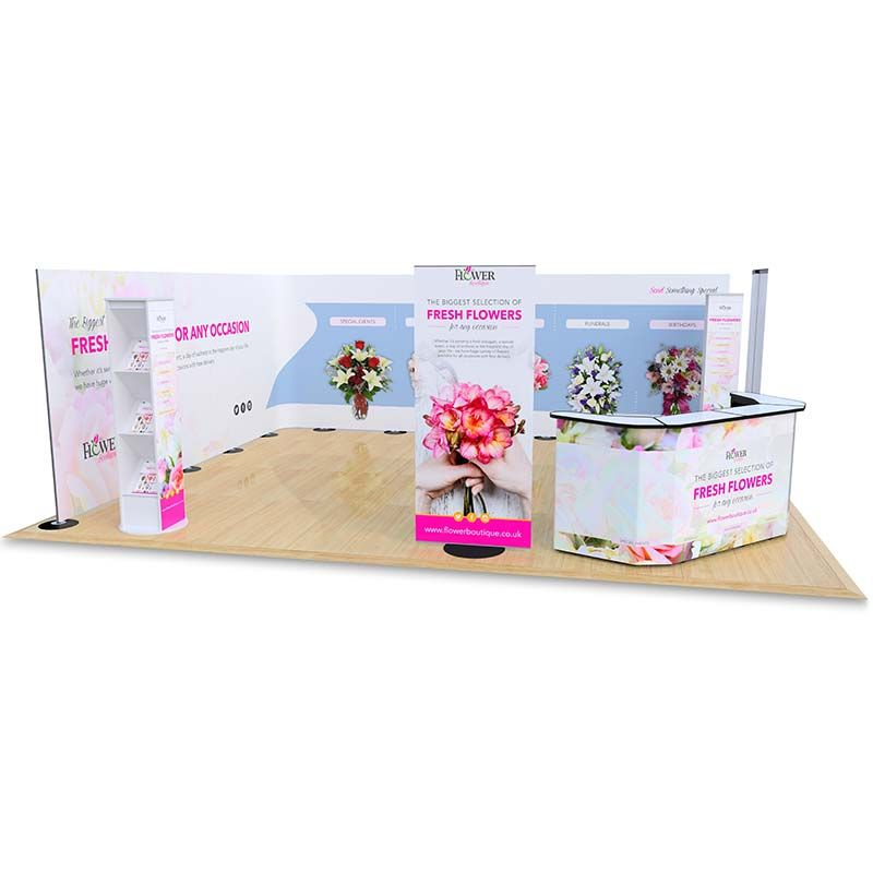 5m x 6m Streamline exhibition stand includes a 10m Streamline backdrop display, Switch banner stands, Brandon leaflet dispensers and a double phoenix exhibition counter