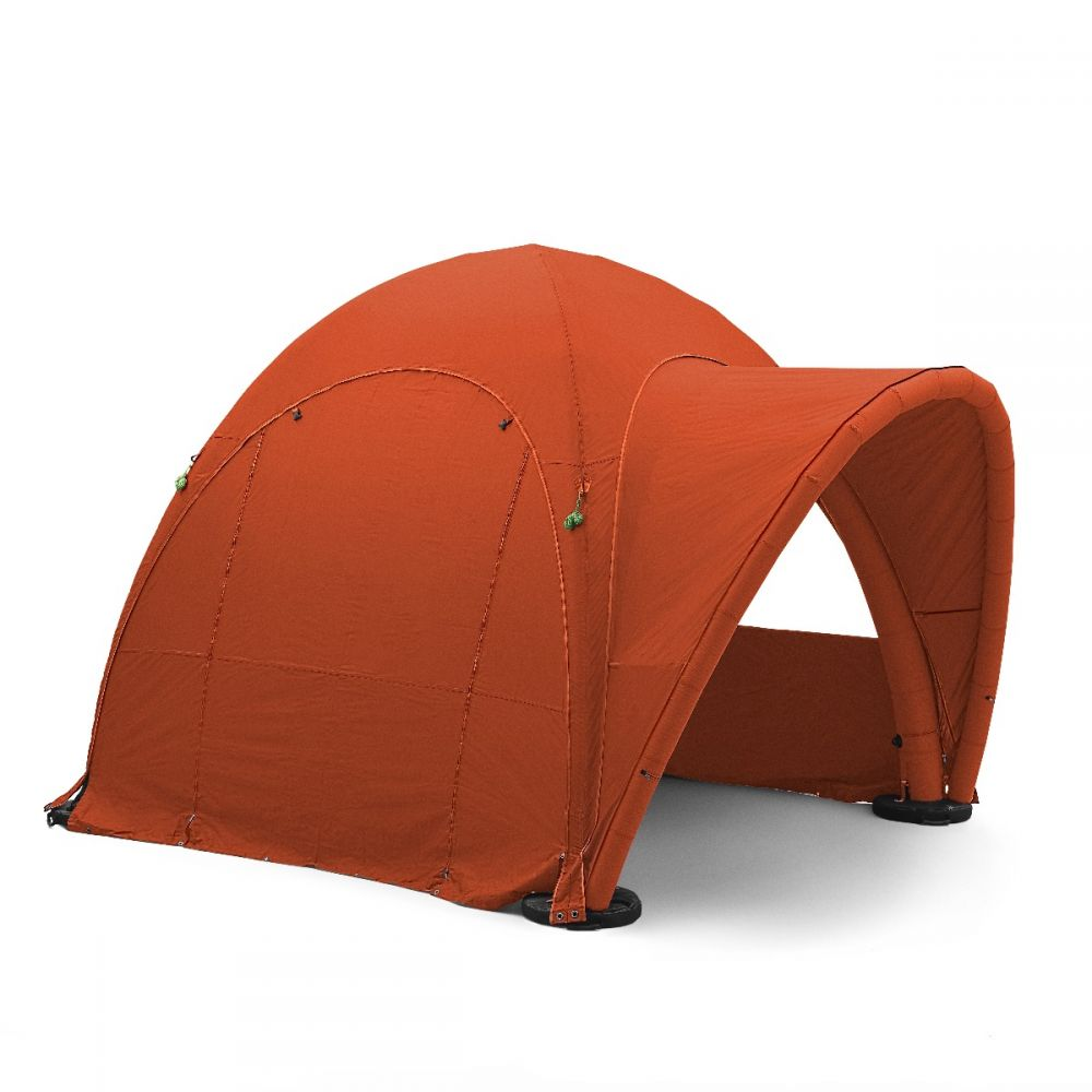 6m x 6m inflatable tent, includes 3 walls and awning.