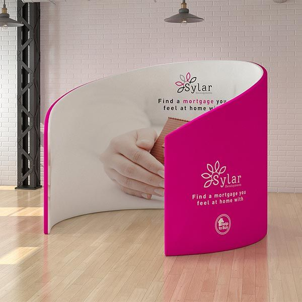 Fabric booth, uses a custom printed fabric cover.