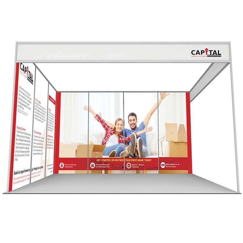 3m x 4m shell scheme using printed rollable graphics or foamex panels. L shaped stand with 7 printed panels.