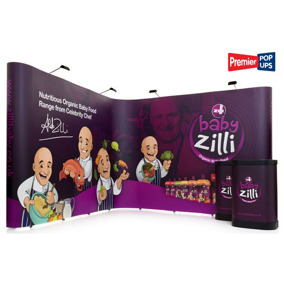 L-Shaped Pop up Display Stand Kit - 3x3 Pop up Stand linked with another 3x3 Pop up Stand