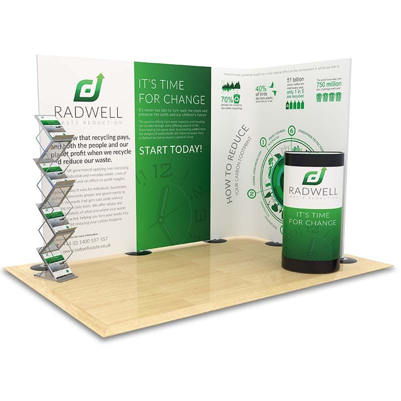 2m x 3m Streamline exhibition stand. Ideal to maximise your floor space with an eye catching backdrop display