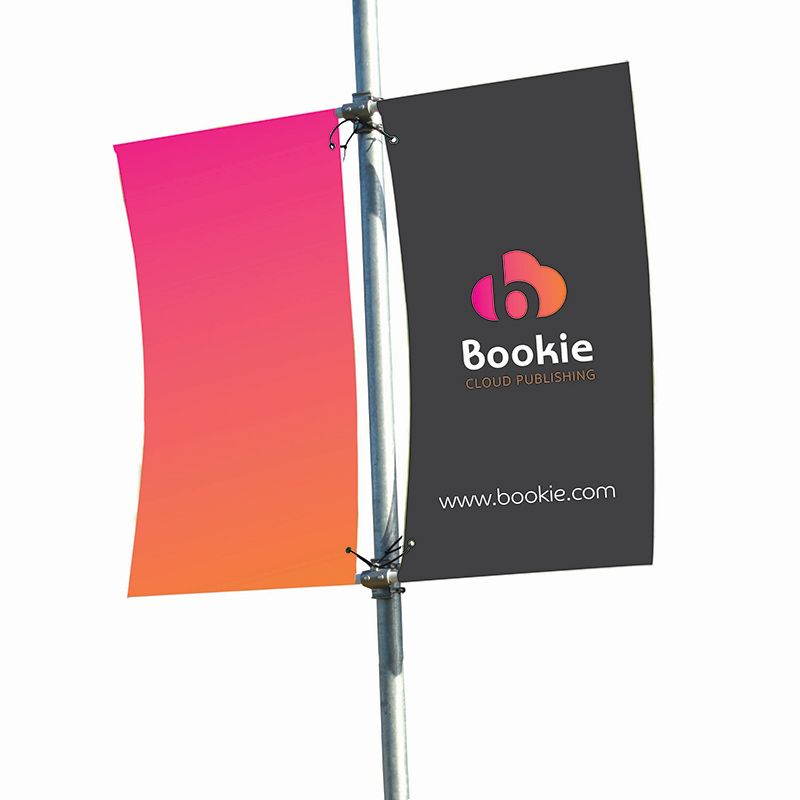 Lamp post banner has a double arm which allows you to display both sides of the pole
