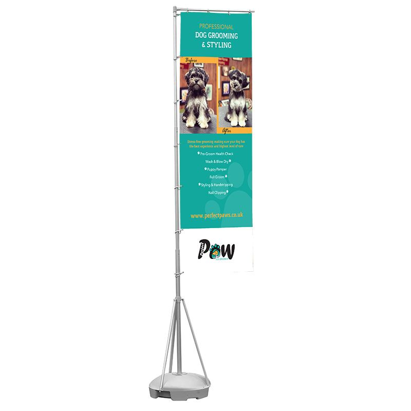 Double sided telescopic rectangle flag, printed with custom artwork