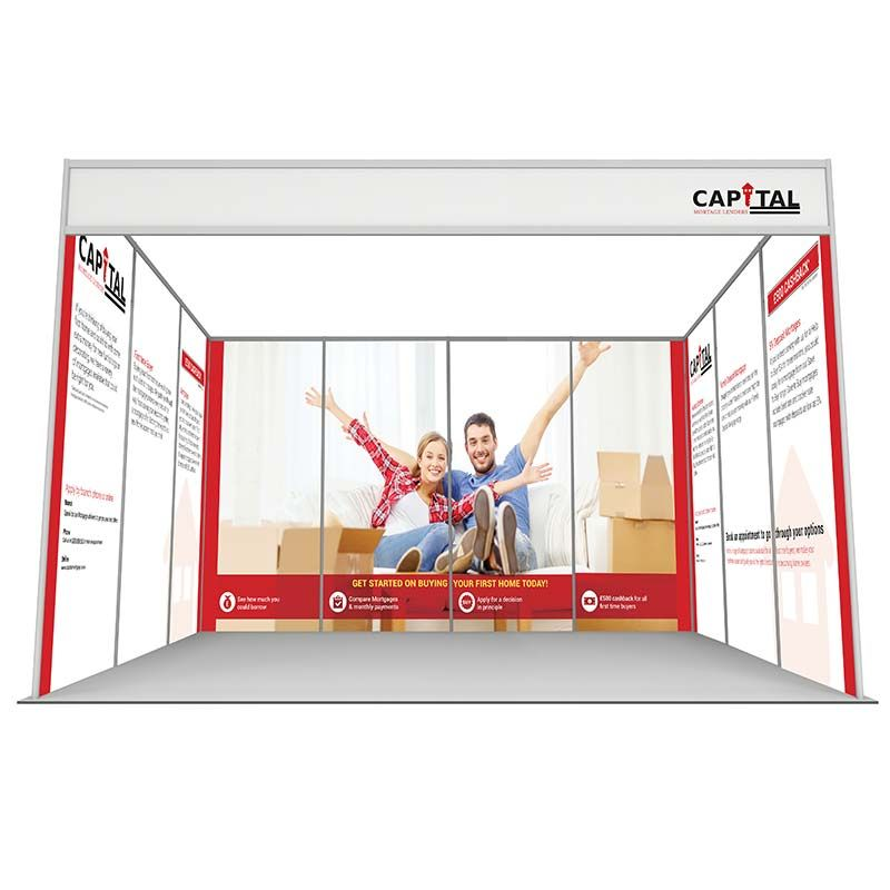 U shape 3m x 4m shell scheme, with 10 printed panels, choose from rollable graphics or printed foamex
