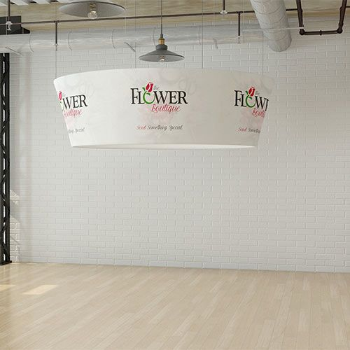 Tex-Flex Tapered hanging display, made with stretch fabric.