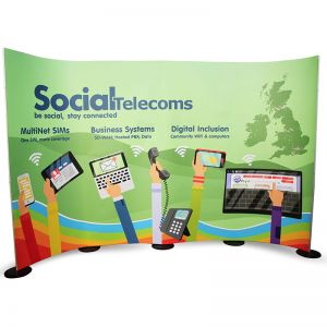 2.4m high curved streamline display stand