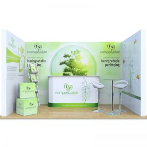 2m x 4m modular exhibition stands with counters, foam cubes, cascade leaflet dispenser and tables with stools