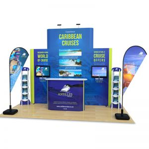 2m x 4m 4x4 tower pop up with monitor arms, exhibition counter, flags and leaflet dispensers