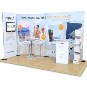 2m x 4m Streamline exhibition stand with monitor stand, counter and leaflet dispenser