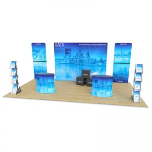 3m x 6m fabric exhibition stand designs, supplied with tex-flex fabric accessories.