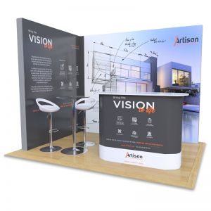 2m x 3m Modular Exhibition Stand, includes 5 printed back panels, Celtic counter and Table and Stools.