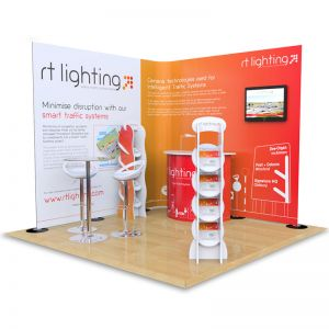 3m x 3m Streamline exhibition stand includes 2.5m H Streamline with monitor arm, Hexby literature stands, Jasper exhibition counters, Tables and Stools