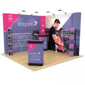 3m x 3m Exhibition Stand Design, includes L Shape Pop Up, literature racks and podium stands