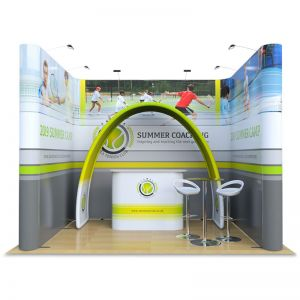 3m x 4m exhibition stand includes jumbo u shape, fabric arch display, celtic counter, table and stools