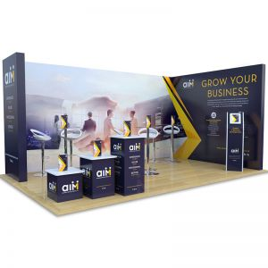 3m x 5m modular exhibition stand with plinths, iPad stand, tables and chairs