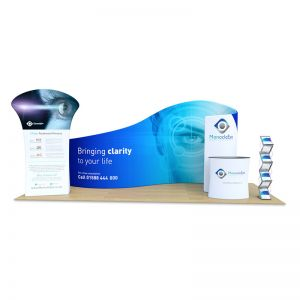 3m x 6m Fabric Tex-Flex Display Stand, supplied with curl display, promo banner, oval counter and storm leaflet dispenser.