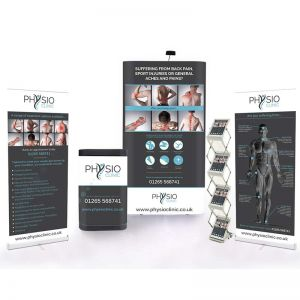 3x1 Pop Up Bundle, includes x 2 roller banners, deluxe upgrade kit and leaflet dispenser.