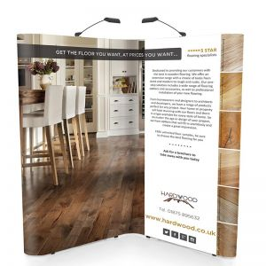 2m x 2m L shape Premier Pop Up Stand, made with linked pop up displays.