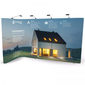 2m x 4m L Shape pop up uses 3x1 + 3x4 pop up display configuration to create an linked L shaped stand to fit your exhibition space