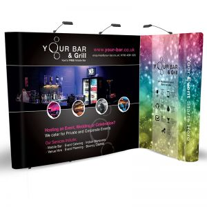 2m x 3m L Shape Pop Up display, made of 3x3 + 3x1 straight pop ups